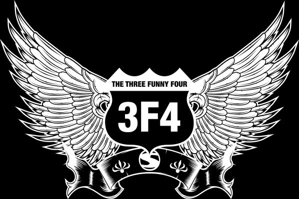 Das Logo von Thre three funny Four besteht aus einem Route66-Symbol mit Flügeln und den Buchstaben 3f4 in der Mitte